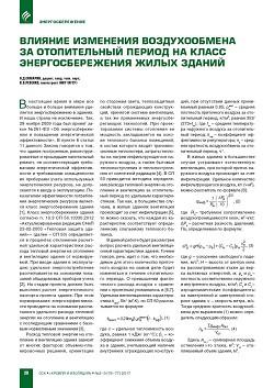 О.Д. Самарин, В.В. Ревенко (НИУ МГСУ). Влияние изменения воздухообмена  за отопительный период на класс энергосбережения жилых зданий